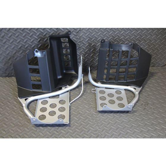 NEW Silver Heel Guards footrest Yamaha Banshee left right nerf bars plastic