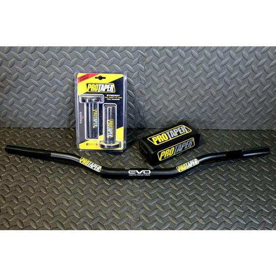 New Pro Taper Fat Bar Evo Handlebars 1 1/8'' Cr Rm Crf Yzf Black + Pad Grips